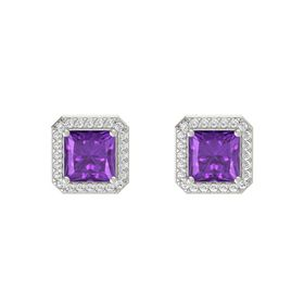 Princess Amethyst 14K White Gold Earring with White Sapphire