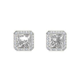 Princess Rock Crystal 14K White Gold Earring with Diamond and White Sapphire