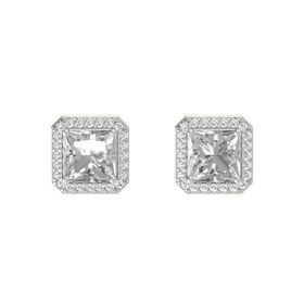 Princess Rock Crystal 14K White Gold Earring with White Sapphire