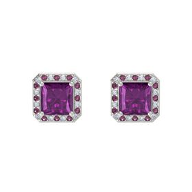 Princess Rhodolite Garnet 14K White Gold Earring with Diamond and Rhodolite Garnet