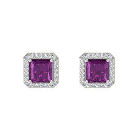 Princess Rhodolite Garnet 14K White Gold Earring with Diamond and White Sapphire