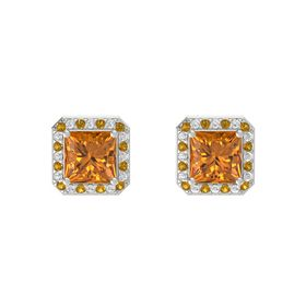 Princess Citrine 14K White Gold Earrings with Citrine & White Sapphire