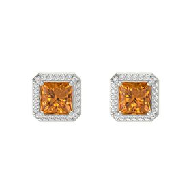 Princess Citrine 14K White Gold Earring with White Sapphire
