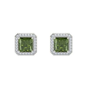 Princess Green Tourmaline 14K White Gold Earrings with Diamond