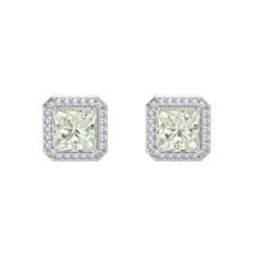 Princess Green Amethyst 14K White Gold Earring with Diamond