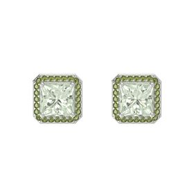 Princess Green Amethyst 14K White Gold Earring with Green Tourmaline