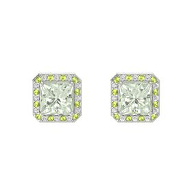 Princess Green Amethyst 14K White Gold Earring with Peridot and White Sapphire