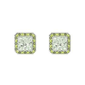 Princess Green Amethyst 14K White Gold Earring with Peridot and Green Tourmaline