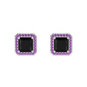 Princess Black Onyx 14K White Gold Earring with Amethyst