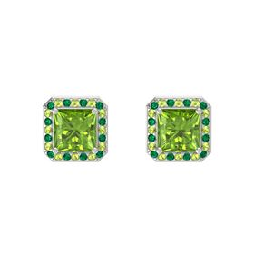 Princess Peridot 14K White Gold Earring with Emerald and Peridot