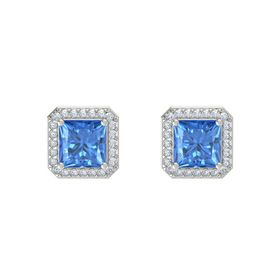 Princess Blue Topaz 14K White Gold Earrings with Diamond