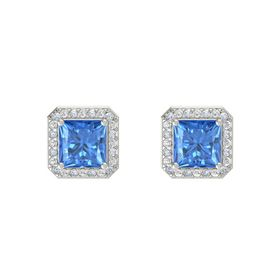 Princess Blue Topaz 14K White Gold Earring with Diamond and White Sapphire