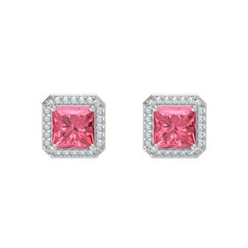 Princess Pink Tourmaline 14K White Gold Earrings with Diamond