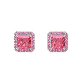 Princess Pink Tourmaline 14K White Gold Earrings with Pink Sapphire & Pink Tourmaline