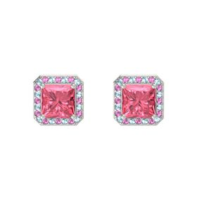 Princess Pink Tourmaline 14K White Gold Earring with Aquamarine and Pink Sapphire