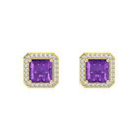 Princess Amethyst 14K Yellow Gold Earring with Diamond