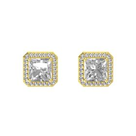 Princess Rock Crystal 14K Yellow Gold Earring with Rock Crystal
