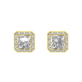 Princess Rock Crystal 14K Yellow Gold Earring with Rock Crystal and Diamond