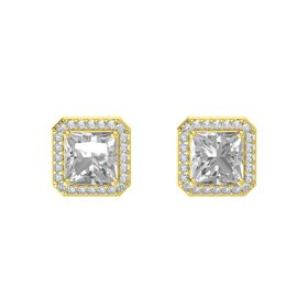 Princess Rock Crystal 14K Yellow Gold Earrings with Diamond
