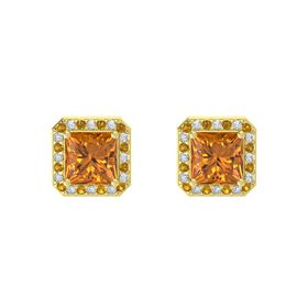 Princess Citrine 14K Yellow Gold Earring with Citrine and Diamond