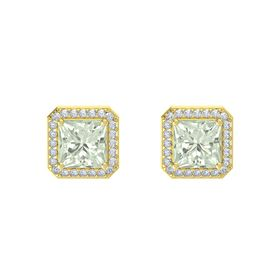 Princess Green Amethyst 14K Yellow Gold Earring with Diamond