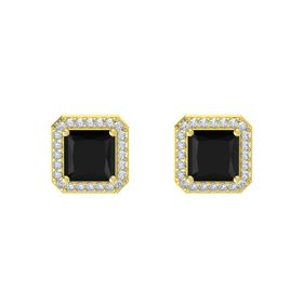 Princess Black Onyx 14K Yellow Gold Earrings with Diamond
