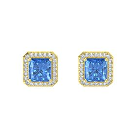 Princess Blue Topaz 14K Yellow Gold Earring with Diamond