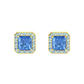 Princess Blue Topaz 14K Yellow Gold Earrings with Aquamarine & Blue Topaz