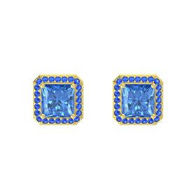 Princess Blue Topaz 14K Yellow Gold Earring with Blue Sapphire