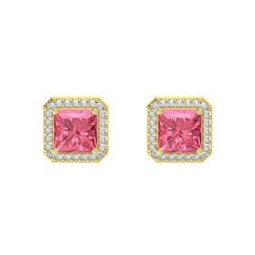 Princess Pink Tourmaline 14K Yellow Gold Earring with Diamond