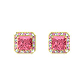 Princess Pink Tourmaline 14K Yellow Gold Earrings with Aquamarine & Pink Sapphire