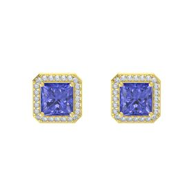 Princess Tanzanite 14K Yellow Gold Earring with Diamond