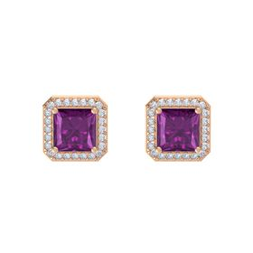 Princess Rhodolite Garnet 18K Rose Gold Earrings with Diamond