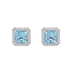 Princess Aquamarine 18K White Gold Earrings with Diamond