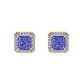Princess Tanzanite 18K Yellow Gold Earring with Tanzanite