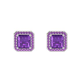 Princess Amethyst Platinum Earrings with Amethyst