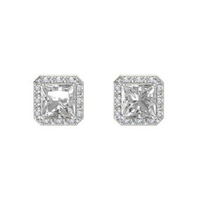 Princess Rock Crystal Platinum Earring with Rock Crystal and Diamond