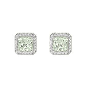 Princess Green Amethyst Platinum Earrings with White Sapphire