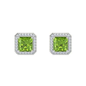 Princess Peridot Platinum Earring with Diamond