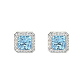 Princess Aquamarine Platinum Earring with White Sapphire