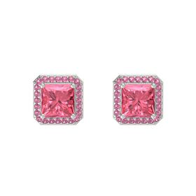 Princess Pink Tourmaline Platinum Earring with Pink Tourmaline