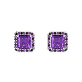 Princess Amethyst Sterling Silver Earring with Black Diamond and Amethyst