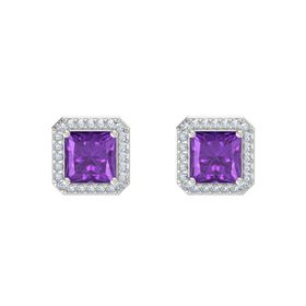 Princess Amethyst Sterling Silver Earring with Diamond