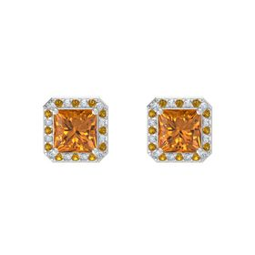 Princess Citrine Sterling Silver Earring with Diamond and Citrine