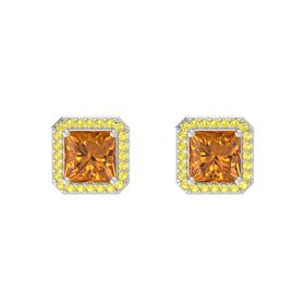 Princess Citrine Sterling Silver Earring with Yellow Sapphire