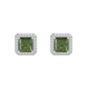 Princess Green Tourmaline Sterling Silver Earrings with Diamond