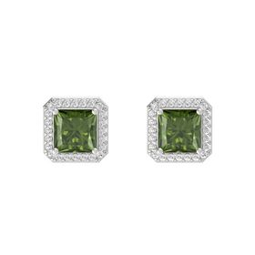 Princess Green Tourmaline Sterling Silver Earring with White Sapphire