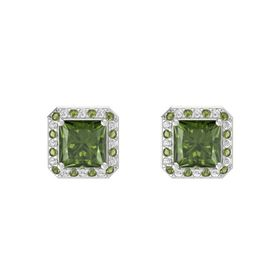 Princess Green Tourmaline Sterling Silver Earring with Green Tourmaline and White Sapphire