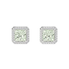 Princess Green Amethyst Sterling Silver Earring with White Sapphire