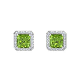 Princess Peridot Sterling Silver Earrings with Diamond